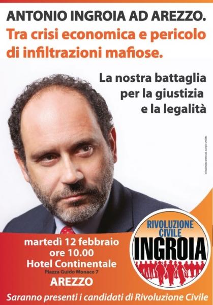 Rivoluzione Civile, ad Arezzo arriva Ingroia Martedì alle 12 al Continentale